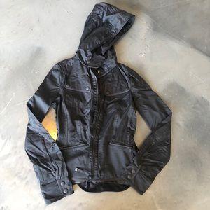 Lululemon Black Zip Up Hooded Rain Jacket